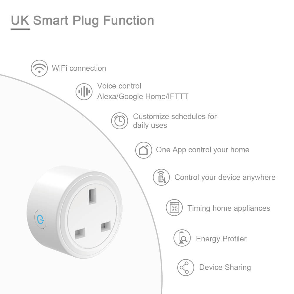 BD-29 Wifi Plug UK Smart Socket On Smart Life APP work with Alexa google home 5