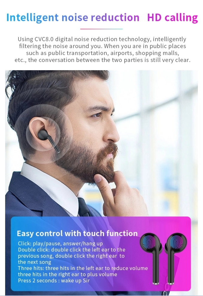 2019 bluetooth earphone best wireless earbuds tws 5.0 with handsfree 22