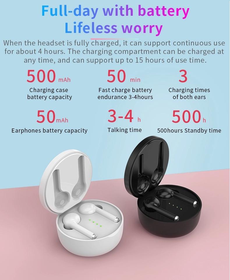 2019 bluetooth earphone best wireless earbuds tws 5.0 with handsfree 24