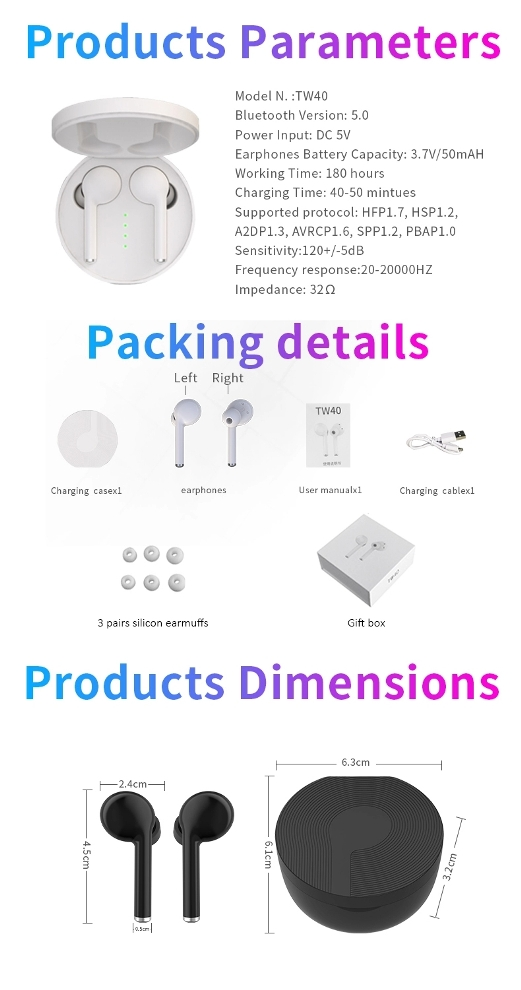 2019 bluetooth earphone best wireless earbuds tws 5.0 with handsfree 16