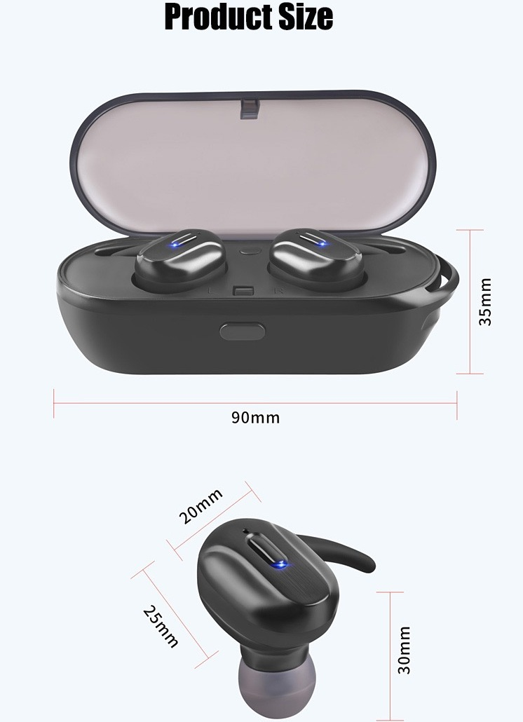 T26 TWS Headphone Bluetooth 5.0 Bass Mini Wireless Earphone Earbud 16