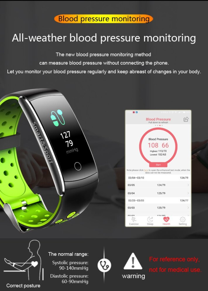 Newest Smartwatch Q8S ip68 Waterproof Heart Rate Monitor Smart Band Fitness Tracker 22