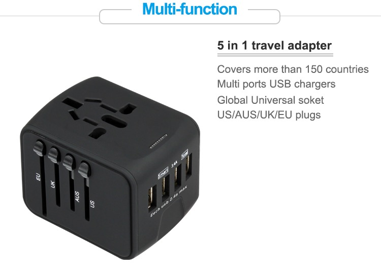 Universal plug adapter 4 usb power adapter usb ac/dc adapter mobile phone accessories 12