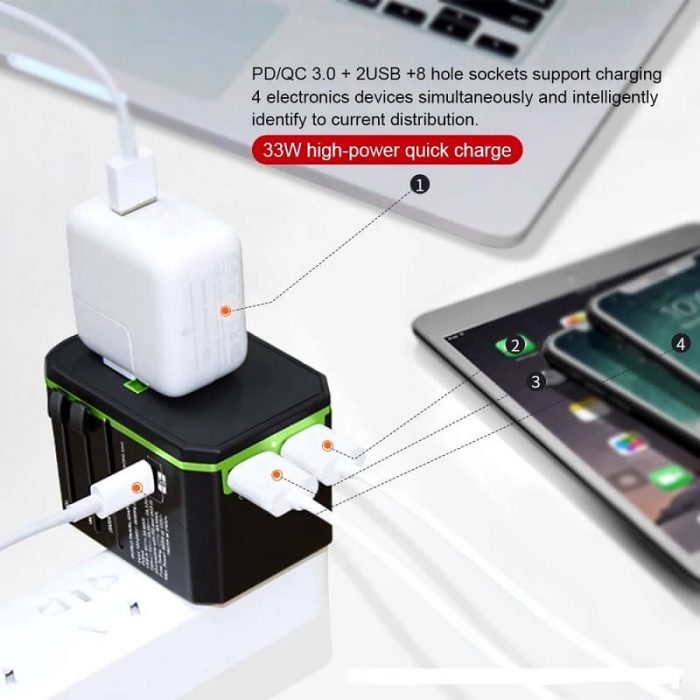 Hot international wall socket 33W PD quick charger usb multi plug adaptor universal travel adapter 4