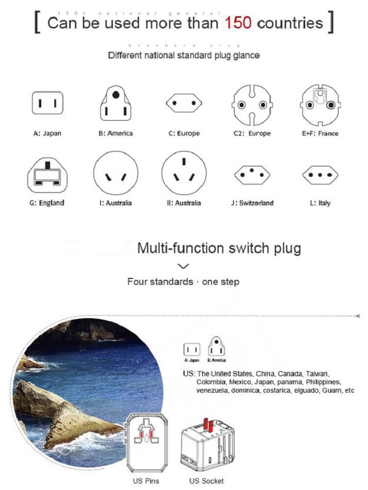 Hot international wall socket 33W PD quick charger usb multi plug adaptor universal travel adapter 44
