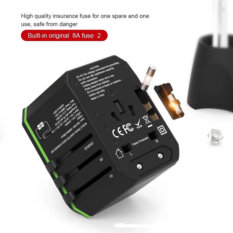 Hot international wall socket 33W PD quick charger usb multi plug adaptor universal travel adapter 7