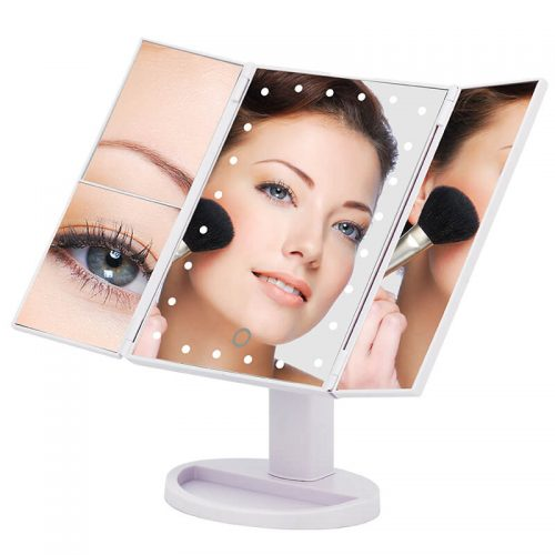 Cosmetic LED Makeup Mirror Top Sale Trifold Mirror 10X magnifying led mirror 36