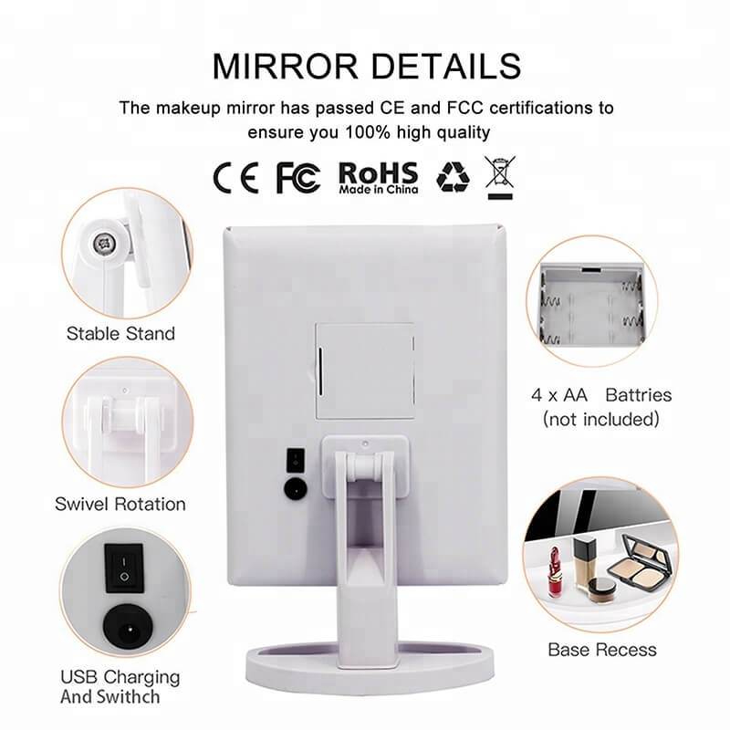 Cosmetic LED Makeup Mirror Top Sale Trifold Mirror 10X magnifying led mirror 26