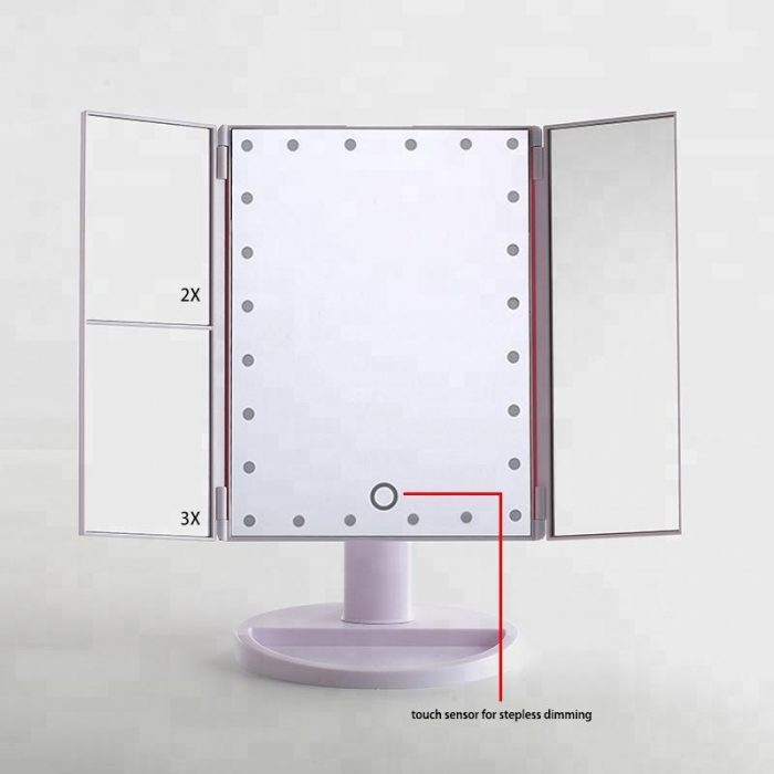 Cosmetic LED Makeup Mirror Top Sale Trifold Mirror 10X magnifying led mirror 6