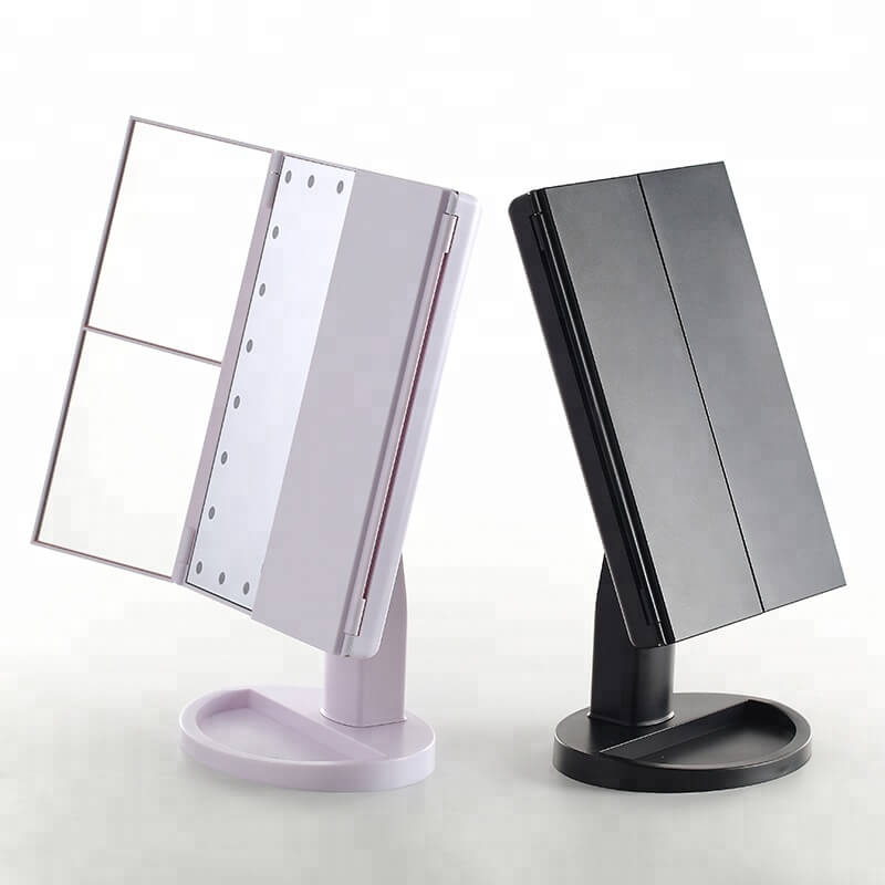 Cosmetic LED Makeup Mirror Top Sale Trifold Mirror 10X magnifying led mirror 14
