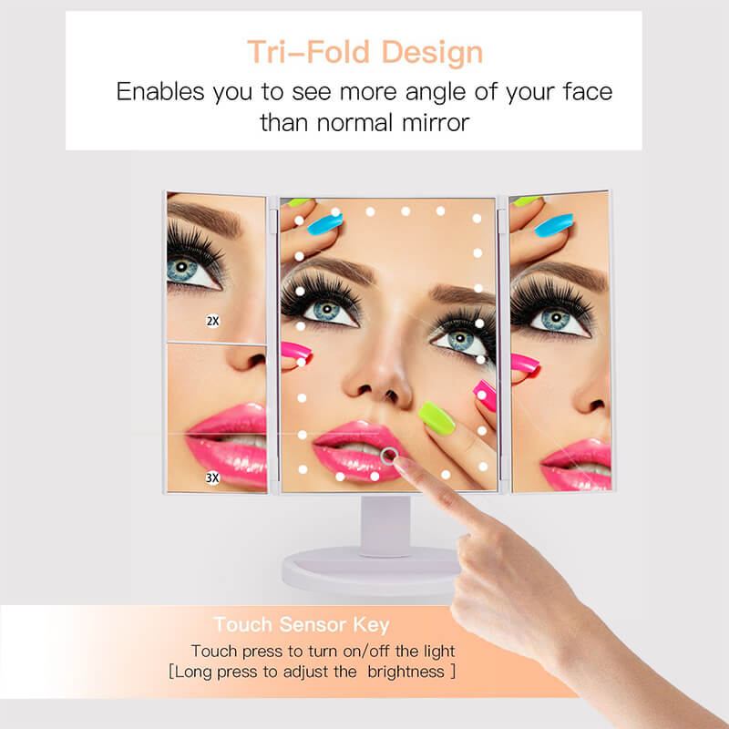 Cosmetic LED Makeup Mirror Top Sale Trifold Mirror 10X magnifying led mirror 20