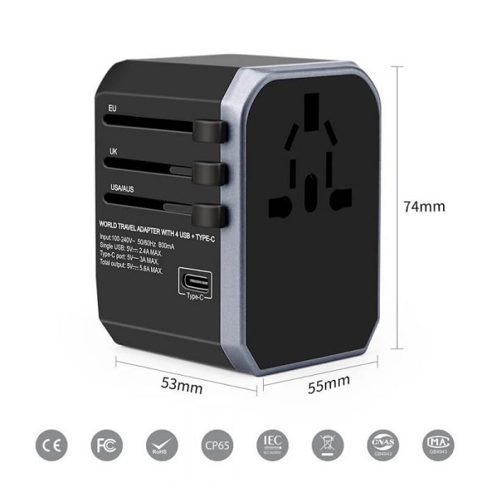 2019 Newest Universal Travel Charger Electrical Smart USB Adapter Type-C port and 4 USB with UK US AU EU Plug Adaptor 10