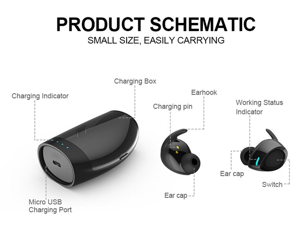TES60 Wireless Ear Buds With Charging Case For iPhone Android TWS IPX7 Waterproof Wireless Earphone 22