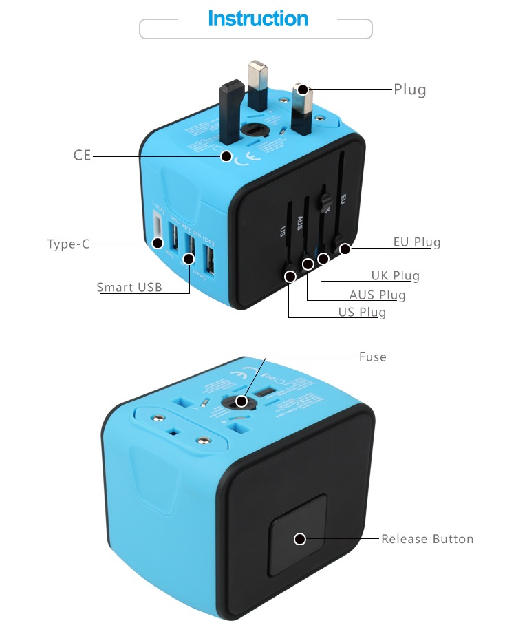 Wholesale Mobile Phone Accessory 2019 hot Universal C Type Travel Adapter USB Adapter 18