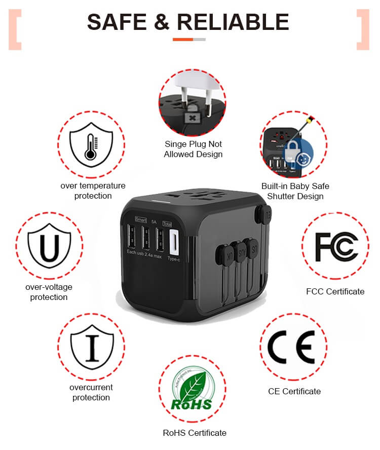 Hot Sale Universal Travel Adapter All-in-one International Power Adapter with 5A type-c 4USB universal travel adaptor 24