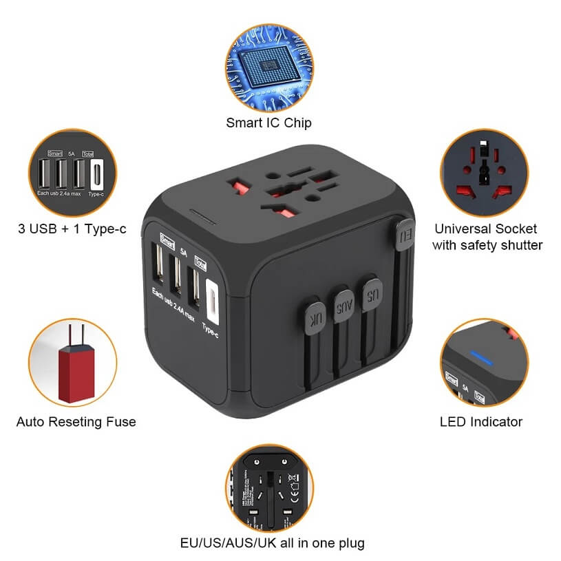 Hot Sale Universal Travel Adapter All-in-one International Power Adapter with 5A type-c 4USB universal travel adaptor 5
