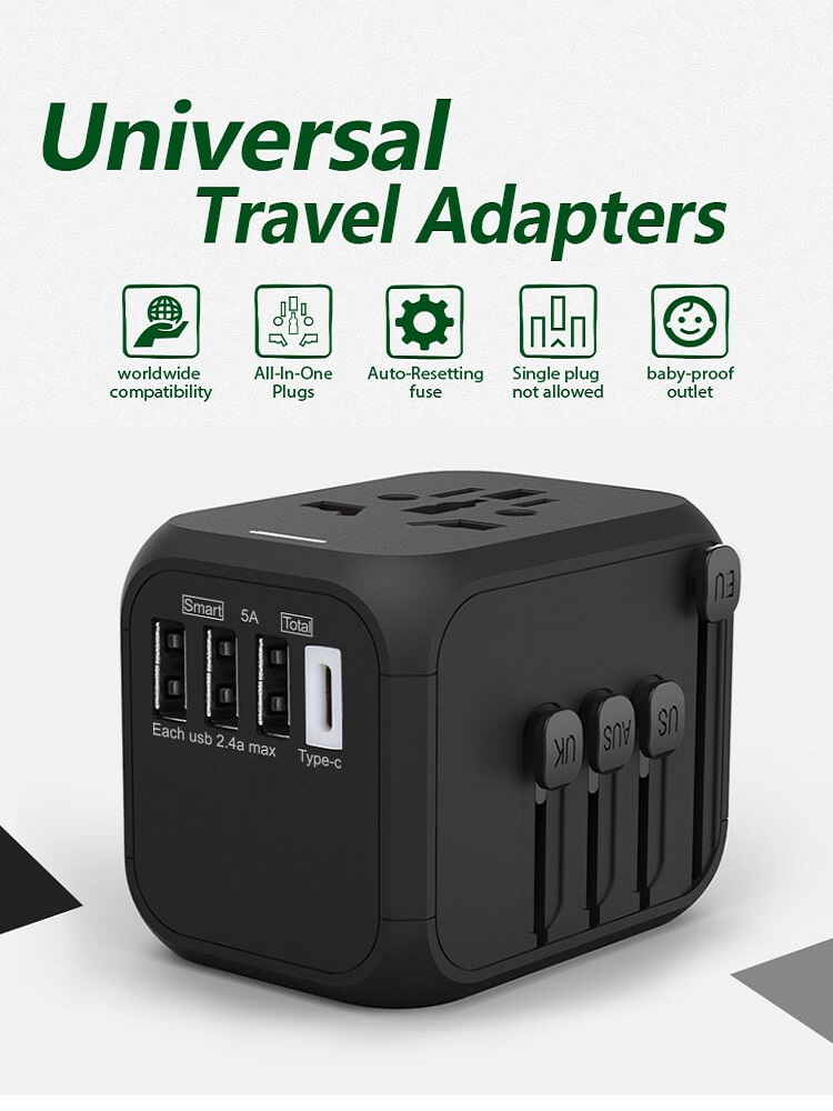 Hot Sale Universal Travel Adapter All-in-one International Power Adapter with 5A type-c 4USB universal travel adaptor 10