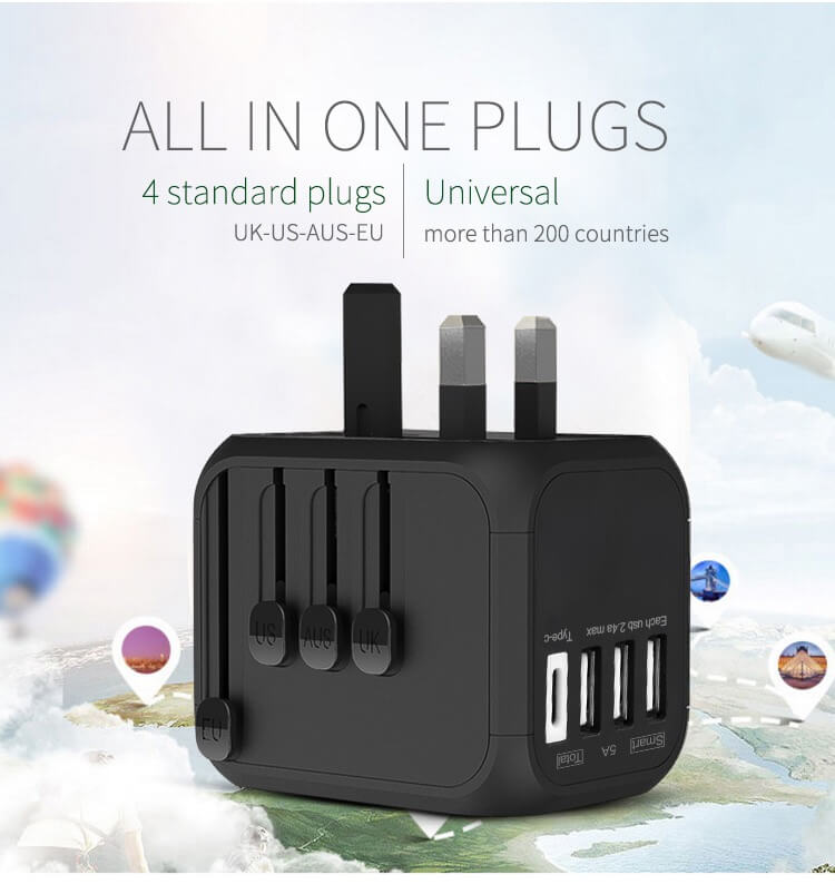 Hot Sale Universal Travel Adapter All-in-one International Power Adapter with 5A type-c 4USB universal travel adaptor 12