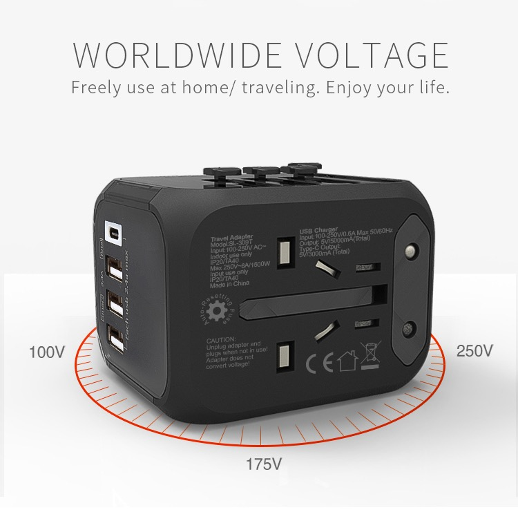 Hot Sale Universal Travel Adapter All-in-one International Power Adapter with 5A type-c 4USB universal travel adaptor 16