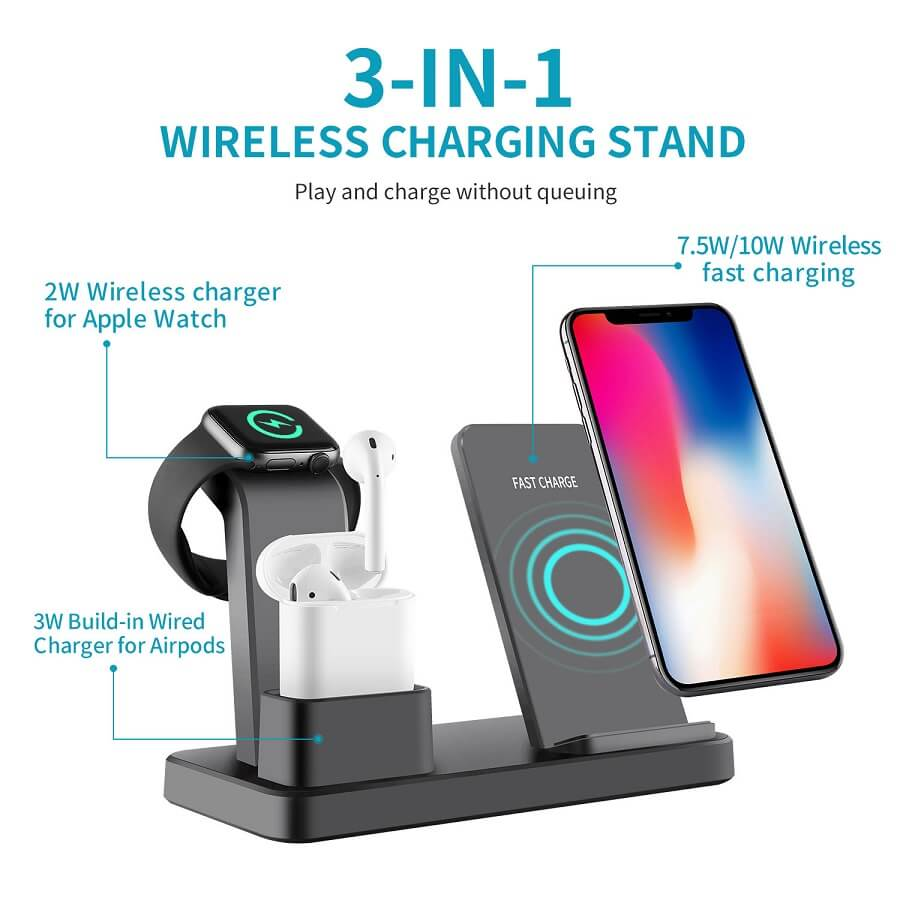 3 in 1 Charging Dock Station For iPhone Earbuds Air Pod Cellphone Qi Wireless Charger 10