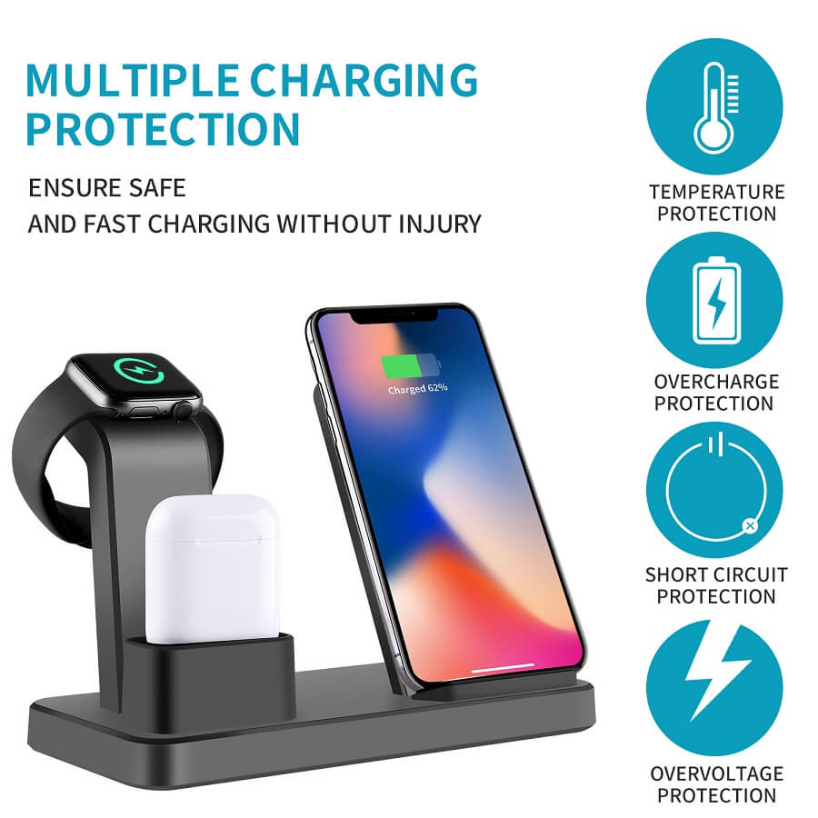 3 in 1 Charging Dock Station For iPhone Earbuds Air Pod Cellphone Qi Wireless Charger 3