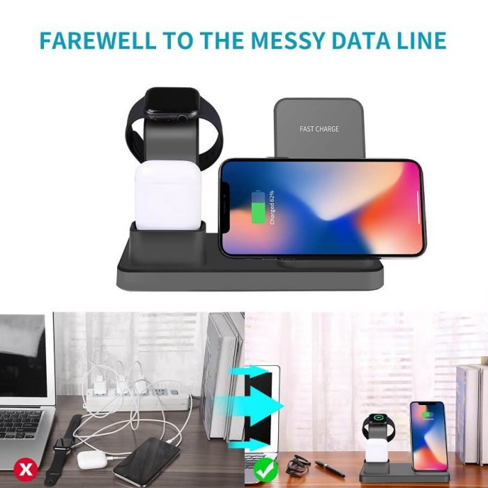 3 in 1 Charging Dock Station For iPhone Earbuds Air Pod Cellphone Qi Wireless Charger 6