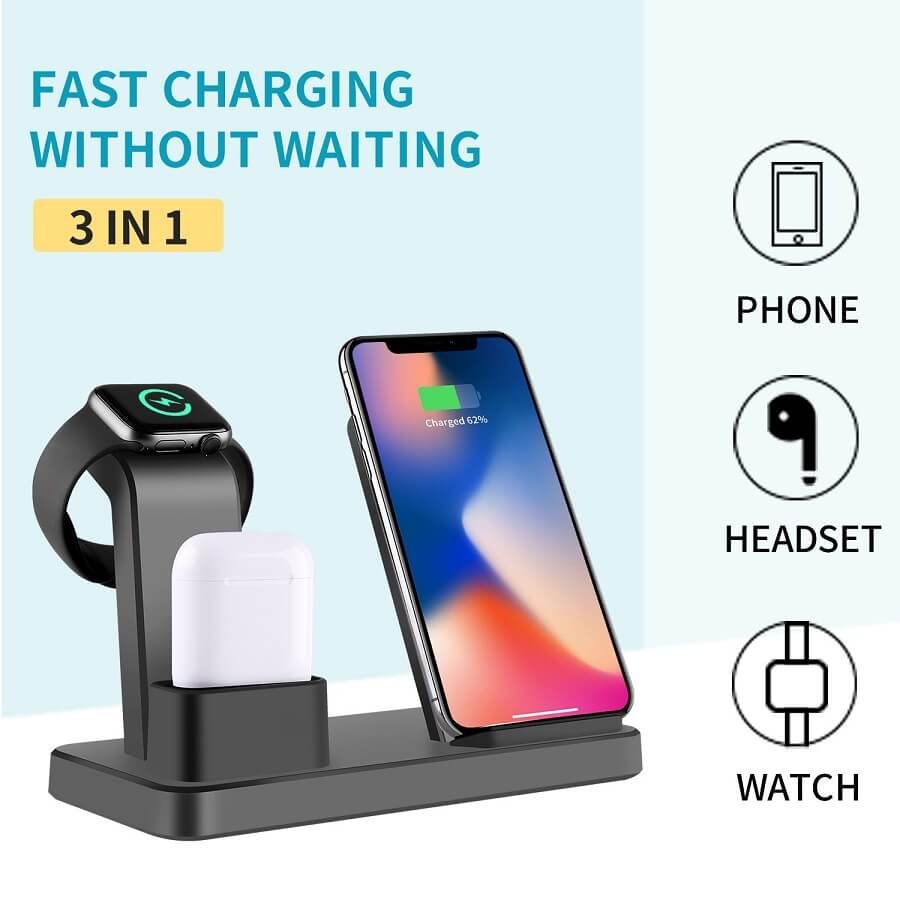 3 in 1 Charging Dock Station For iPhone Earbuds Air Pod Cellphone Qi Wireless Charger 24