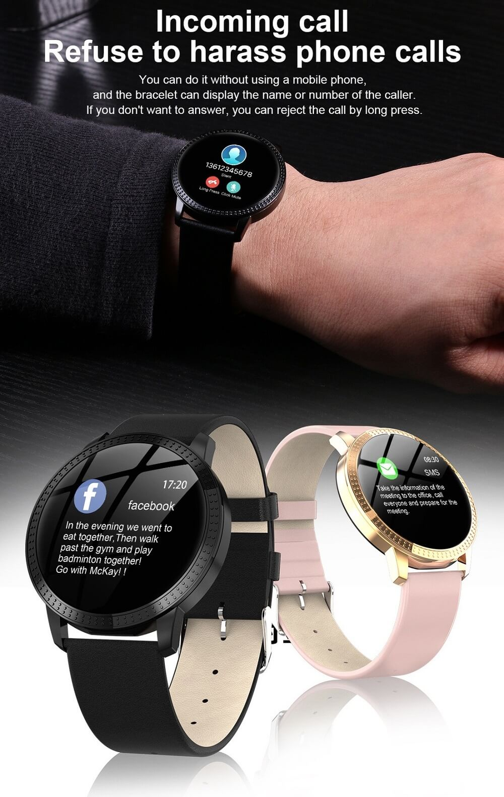 CF18 Waterproof Smartwatch Blood Pressure Monitor Smart Watch Women Band 34