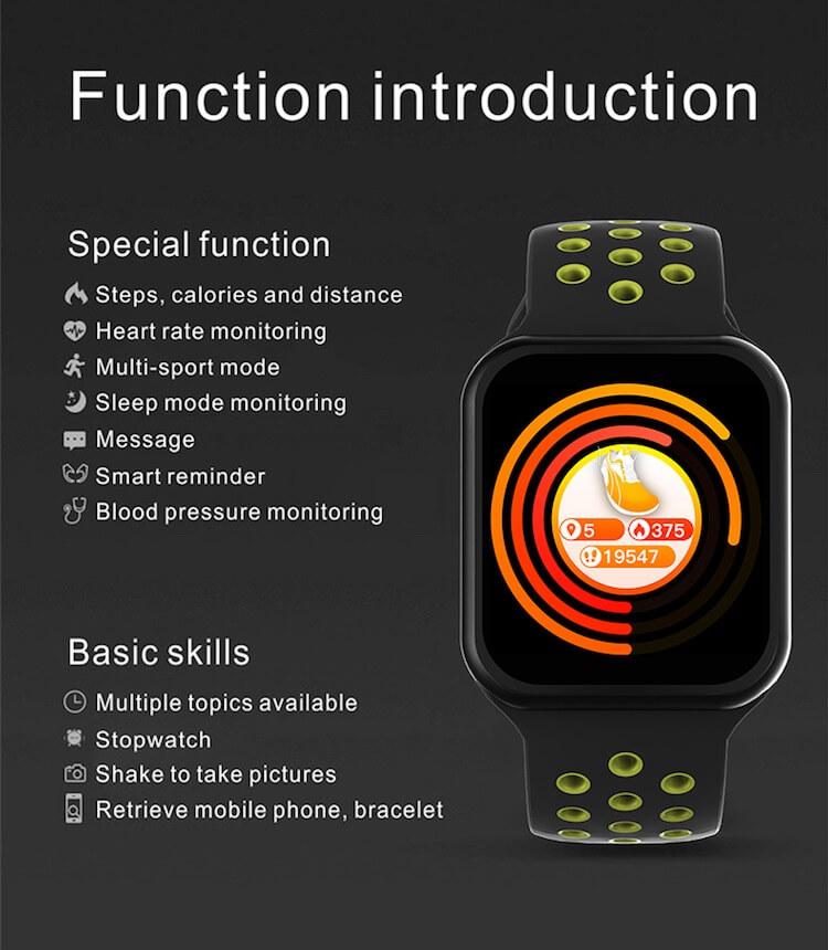 F8 Touch Screen Smartwatch Smart Bracelet Waterproof Smart watch Heart Rate Monitor 28