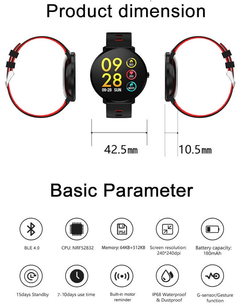 K9 Bracelet Heart Rate Smartwatch Waterproof Weather Forecast Smart Watch 2019 40