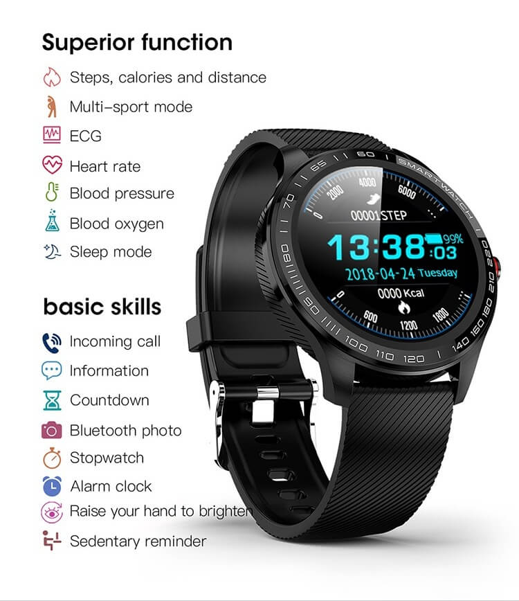 Cheap full touch screen smartwatch dynamic heart rate ECG PPG blood pressure L9 smart watch 16