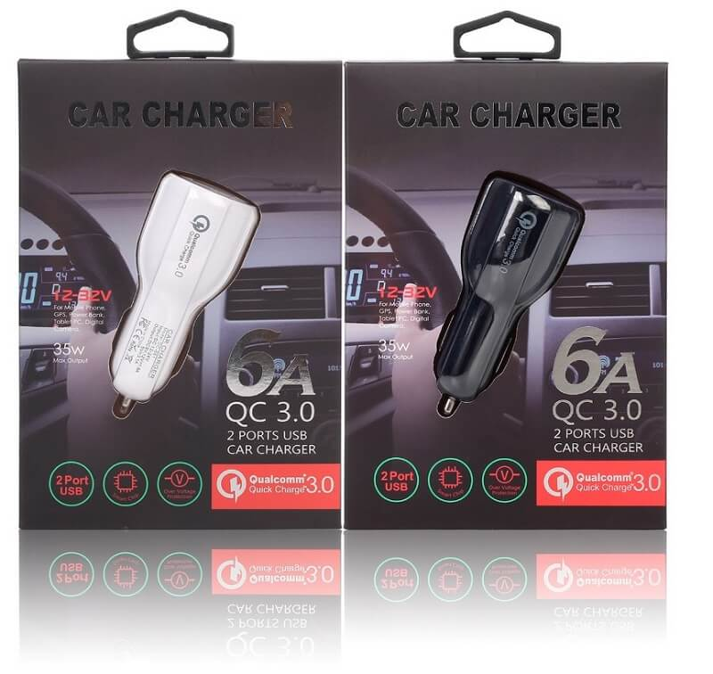 3.1A Portable Qualcomm Quick Charge 3.0 Dual Port Usb Car Charger Phone Charger 26