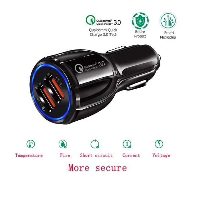 3.1A Portable Qualcomm Quick Charge 3.0 Dual Port Usb Car Charger Phone Charger 6