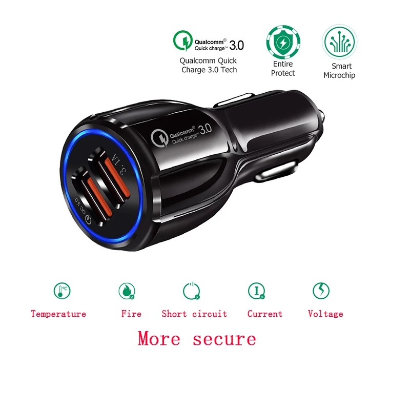 3.1A Portable Qualcomm Quick Charge 3.0 Dual Port Usb Car Charger Phone Charger 5