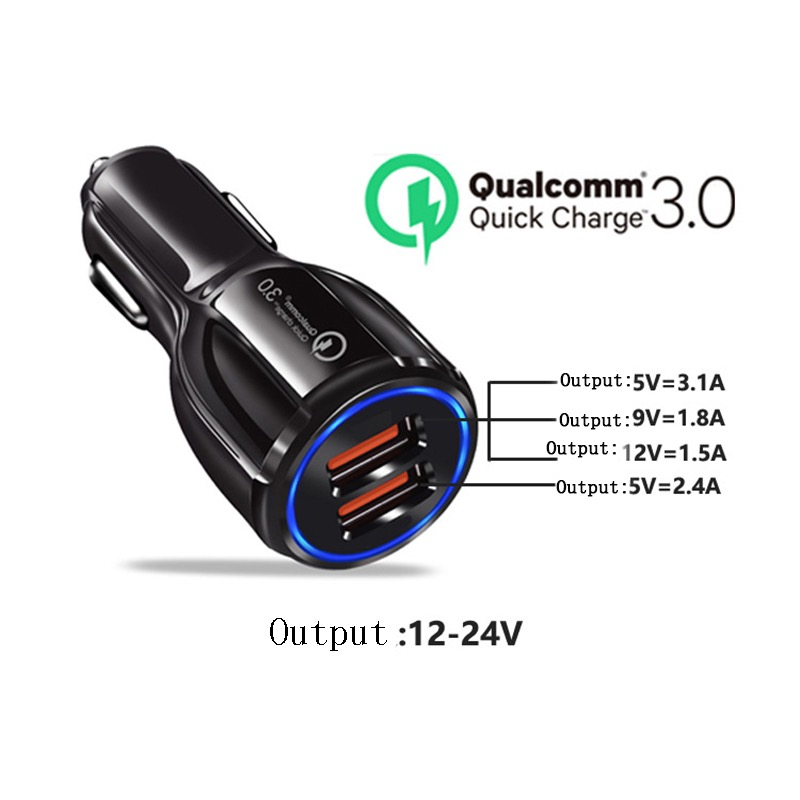 3.1A Portable Qualcomm Quick Charge 3.0 Dual Port Usb Car Charger Phone Charger 10