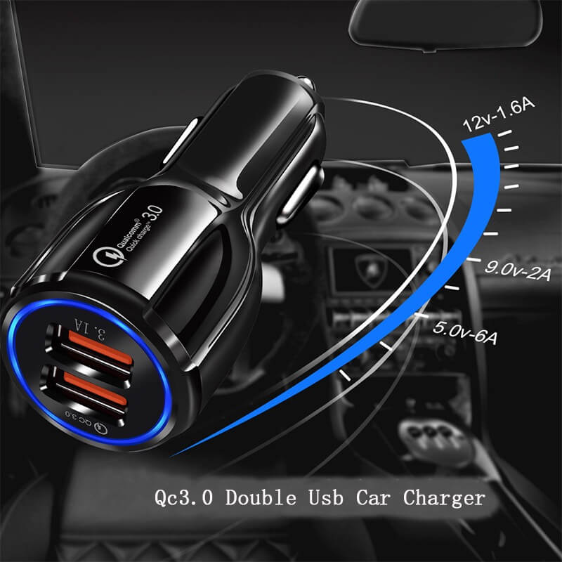 3.1A Portable Qualcomm Quick Charge 3.0 Dual Port Usb Car Charger Phone Charger 14