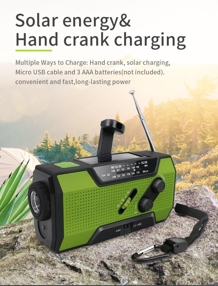 Solar Dynamo Radio Portable USB Charger Hand-cranked Flashlight 14