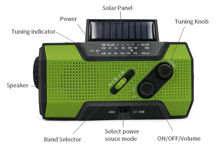 Solar Dynamo Radio Portable USB Charger Hand-cranked Flashlight 24