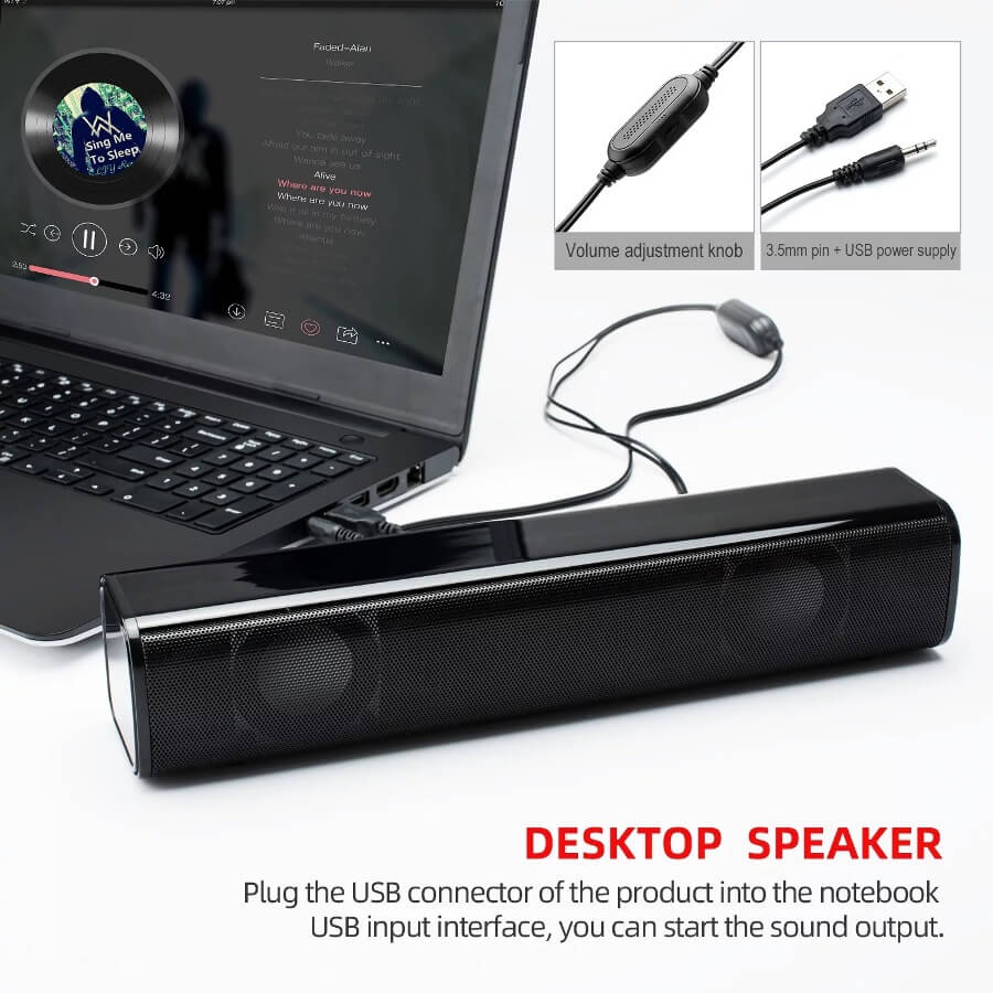 Strip audio Computer Speaker Bluetooth 5.0 Laptop Speaker 8