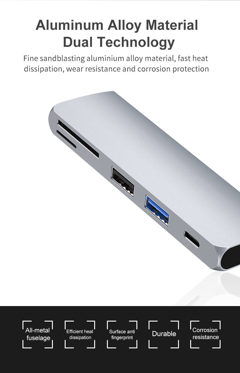 USB C Hub Adapter, 5 in 1 USB C Adapter, with PD Charging, SD and Micro SD Card Reader, USB 3.0 Port, USB2.0 Port 30