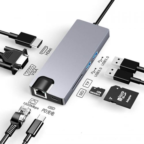 8 in 1 Type-c Hub Type-c to HDMI USB 3.0 SD/TF Card Reader LAN Port 16