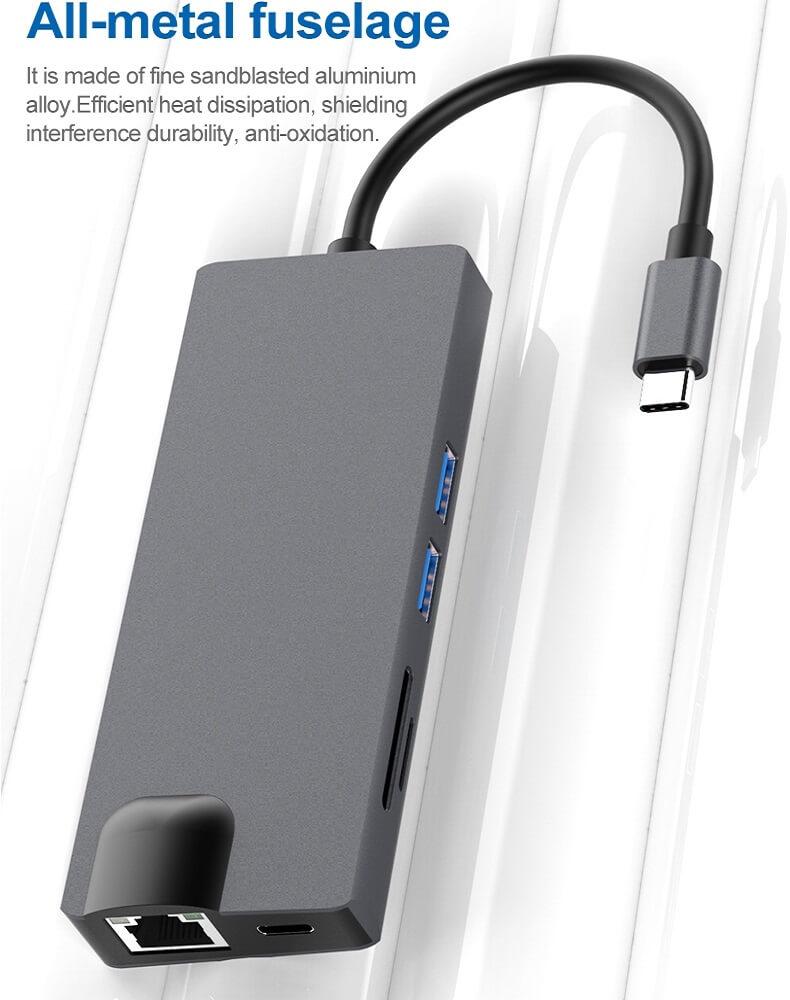 8 in 1 Type-c Hub Type-c to HDMI USB 3.0 SD/TF Card Reader LAN Port 28