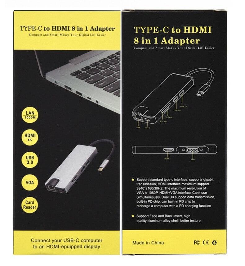8 in 1 Type-c Hub Type-c to HDMI USB 3.0 SD/TF Card Reader LAN Port 32