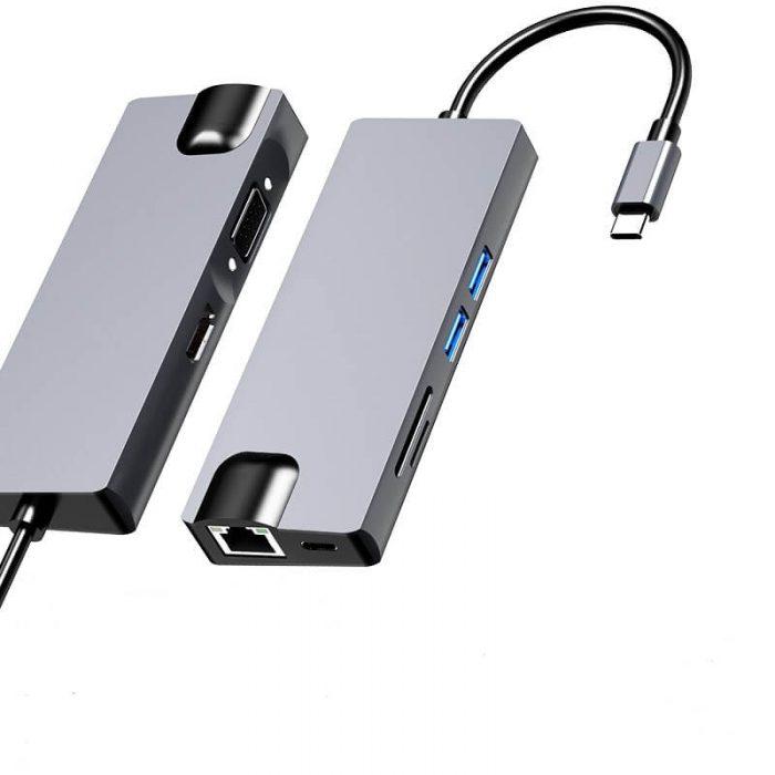 8 in 1 Type-c Hub Type-c to HDMI USB 3.0 SD/TF Card Reader LAN Port 6
