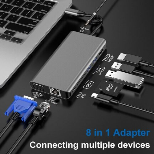 8 in 1 USB Type-C Hub Adapter 8 in 1 Multifunctional USB-C Hub 22