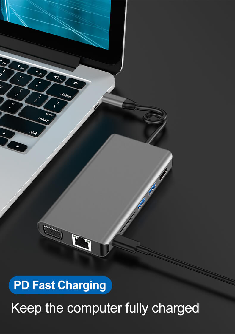 8 in 1 USB Type-C Hub Adapter 8 in 1 Multifunctional USB-C Hub 18
