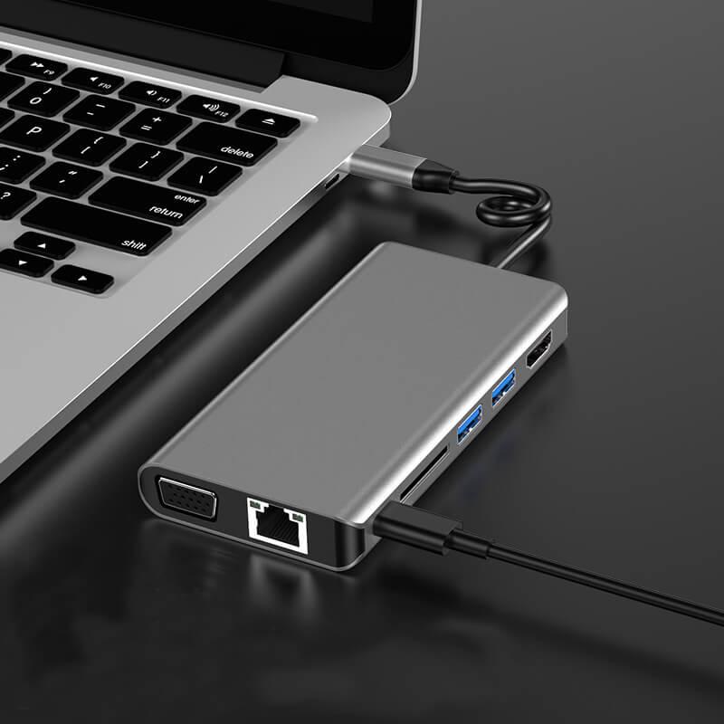 8 in 1 USB Type-C Hub Adapter 8 in 1 Multifunctional USB-C Hub 3