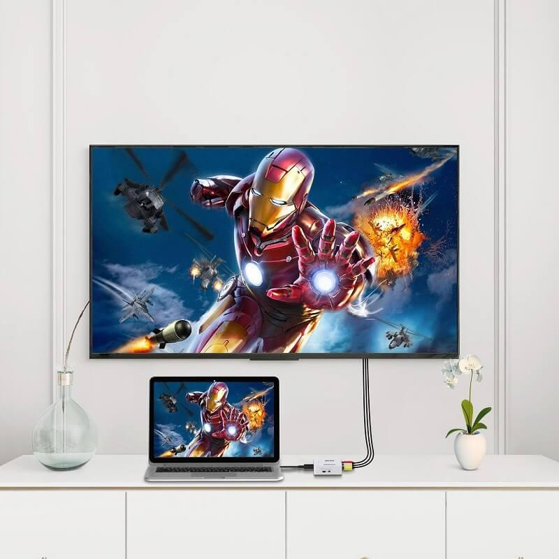 Mini Size 1080p HDMI to AV Converter HDMI to RCA Video Audio Adapter 24