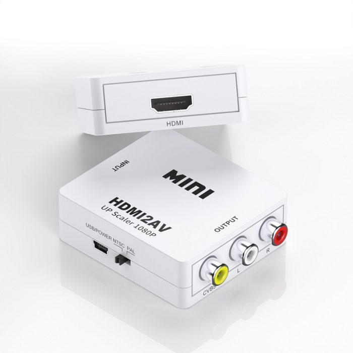 Mini Size 1080p HDMI to AV Converter HDMI to RCA Video Audio Adapter 8