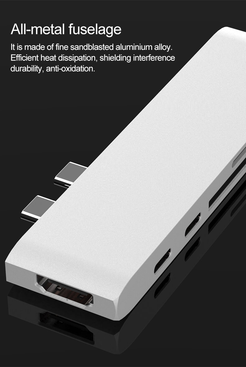 7 in 1 Type C Hub Dual Type-C Aluminum Card Reader USB-C Hub 30
